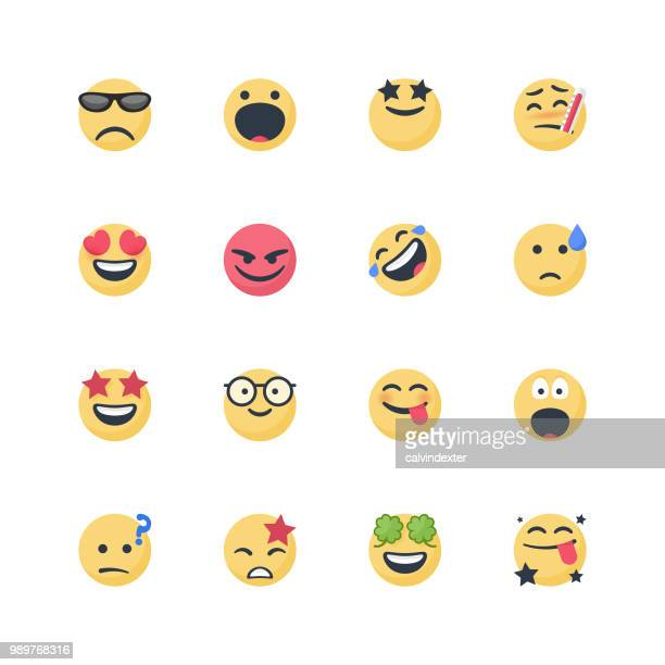 cute emoticons set - laughing stock illustrations, clip art, cartoons, & icons