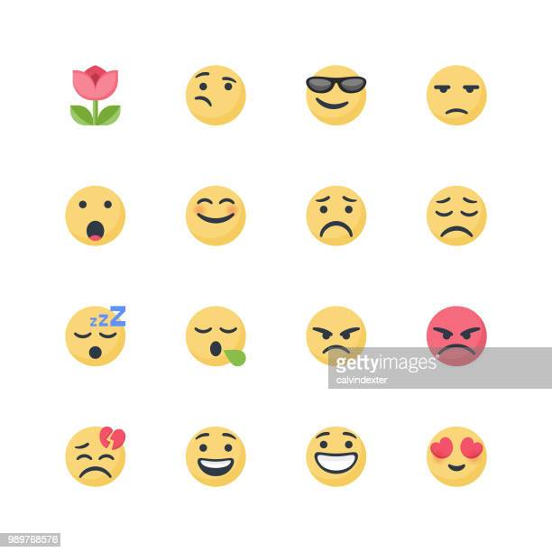 cute emoticons set - sleeping stock illustrations
