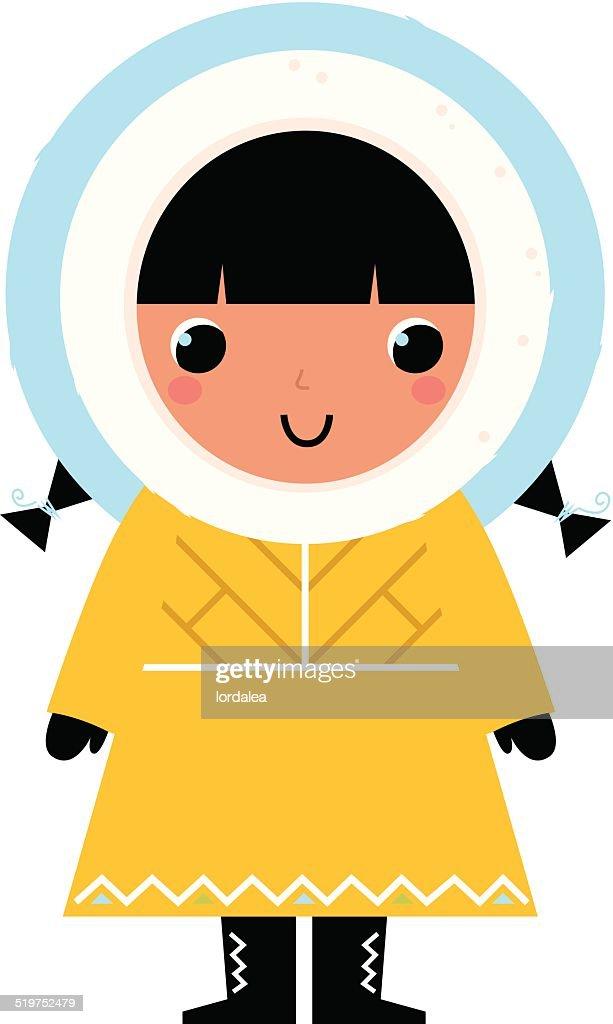 Cute Eskimo girl isolated on white