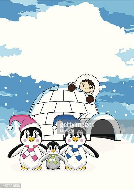 illustrations, cliparts, dessins animés et icônes de mignon du groenland avec pingouins & igloo - igloo