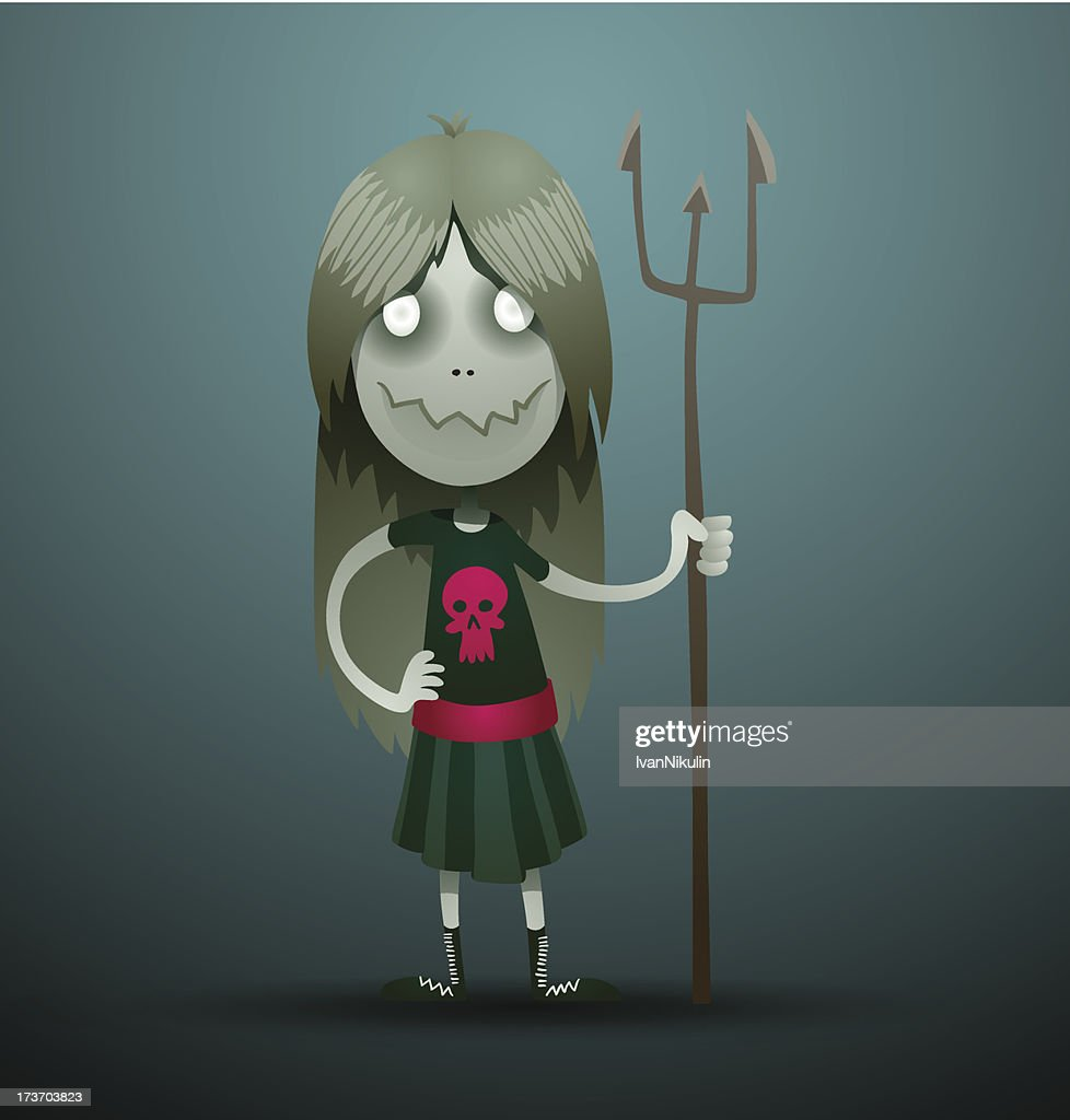 Cute evil girl with a trident