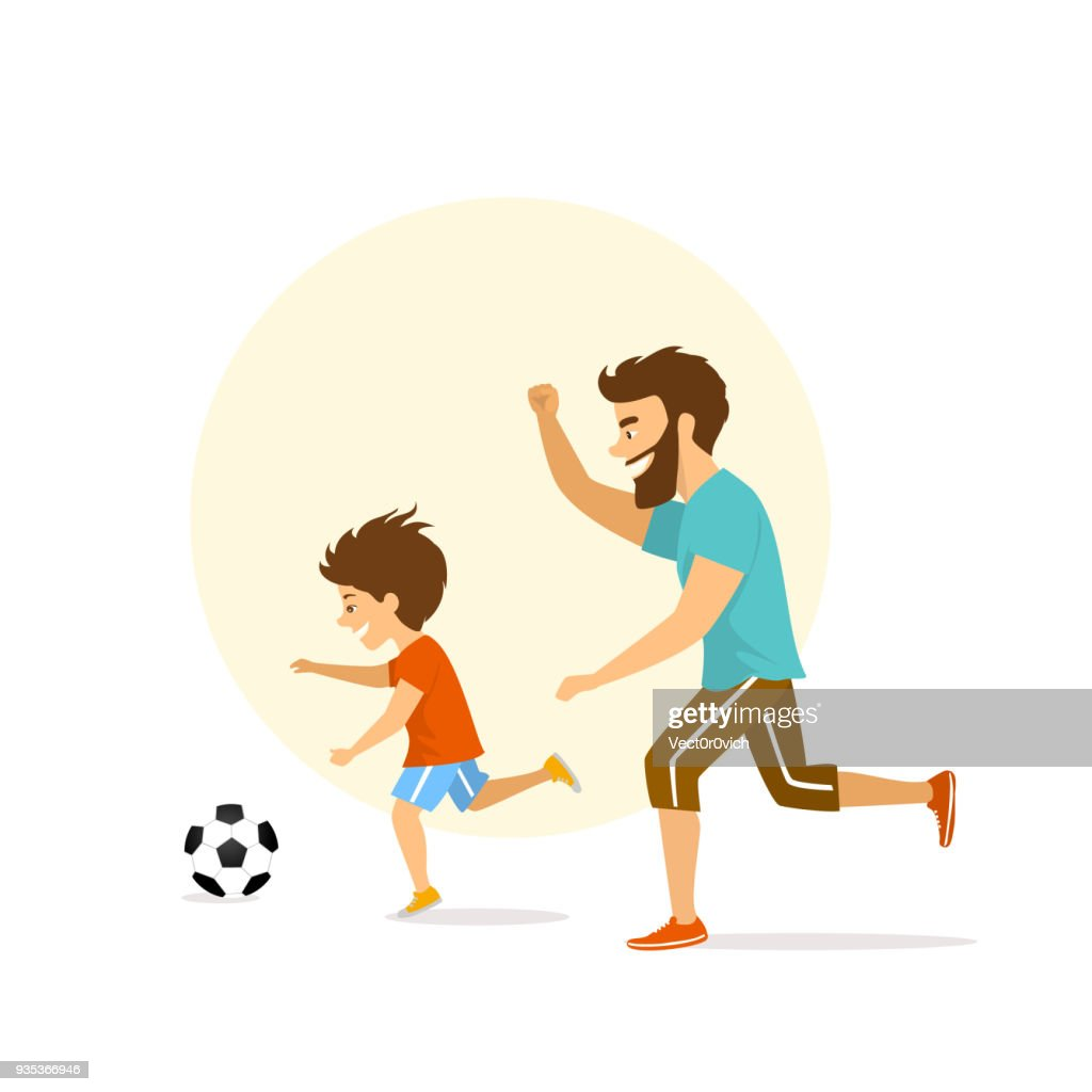 cute excited cheerful active family, man and boy, father and son playing soccer, having fun together