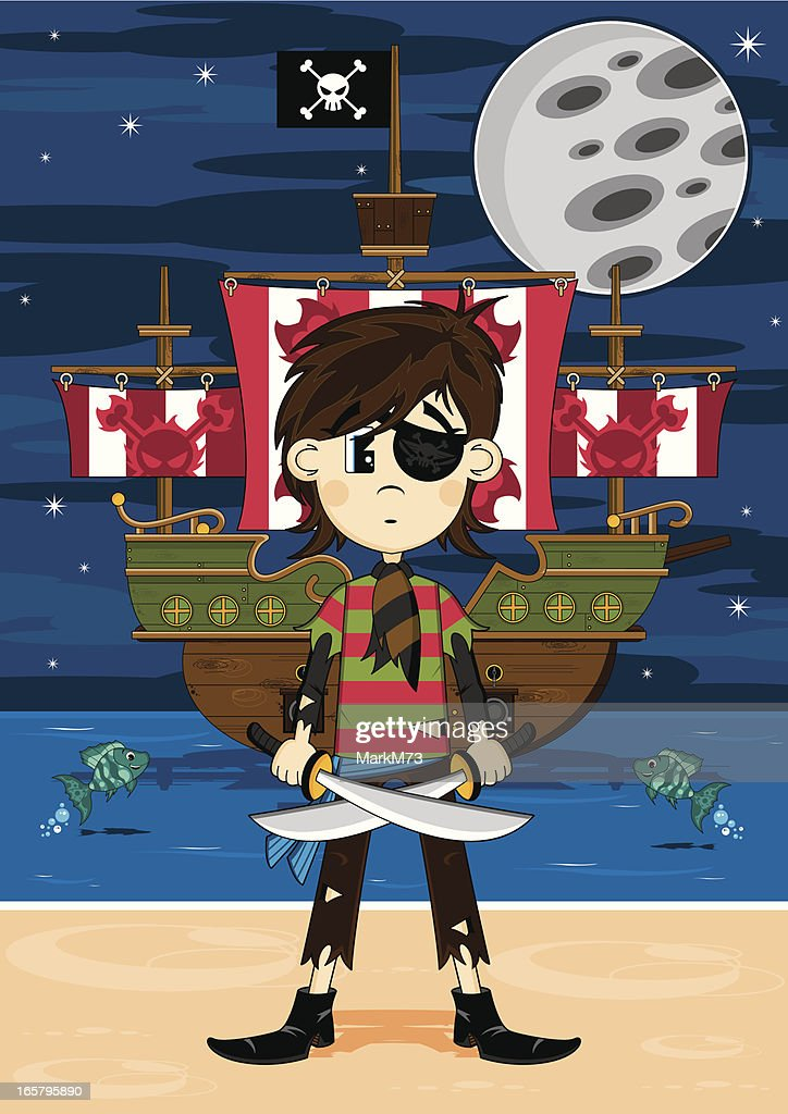Cute Eyepatch Pirate and Ship Beach Scene : stock illustration