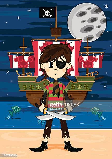 Cute Eyepatch Pirate and Ship Beach Scene