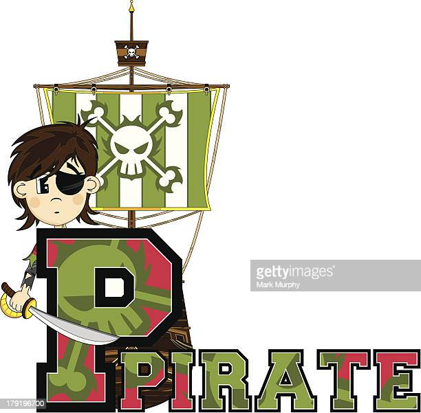 Cute Eyepatch Pirate Letter P