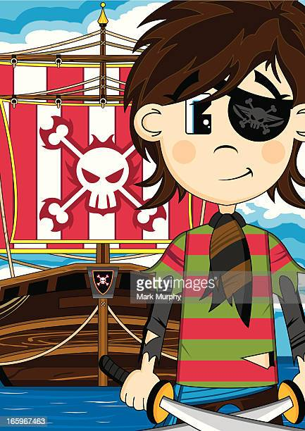 Cute Eyepatch Pirate with Ship