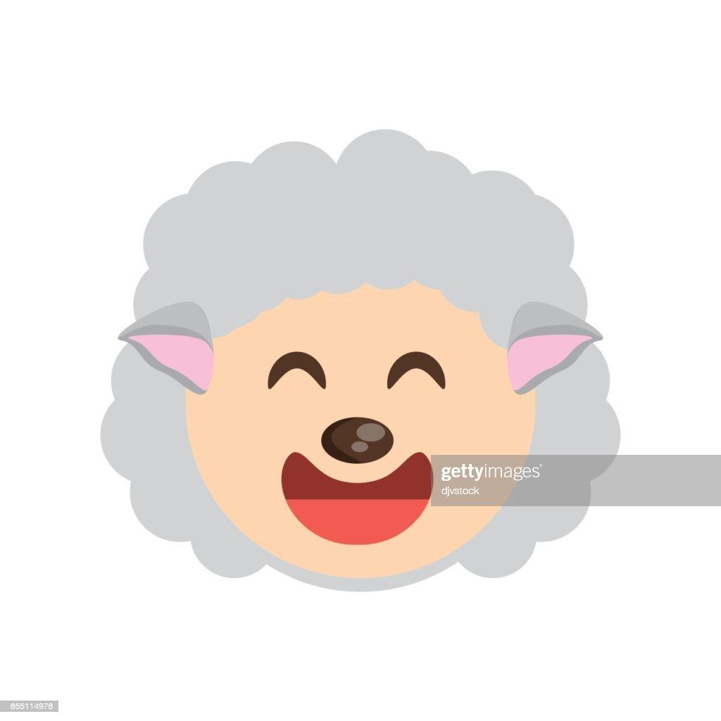 cute face sheep animal cheerful