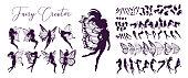 Cute Fairy art. Beautiful Fairies silhouette collection, Little fairies set. Hand drawn vector illustration