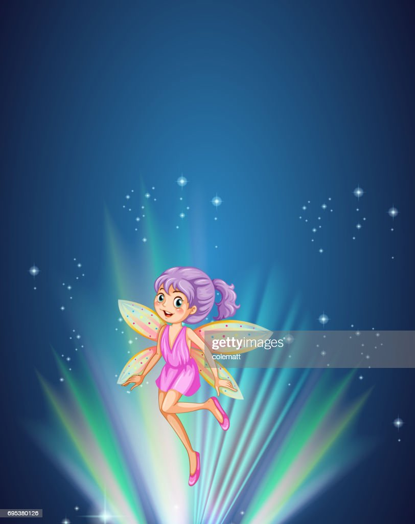 Cute fairy with colorful wings flying at night