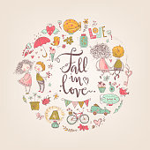Cute fall in love illustration. Nice romantic isolated elements