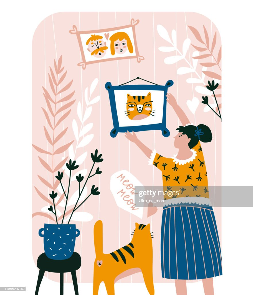 Cute family card. Vector hand drawn illustration. Lovely cat and woman. Home interior.