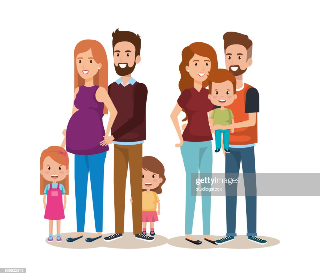 cute family happy characters