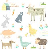 Cute Farm Animals in vector