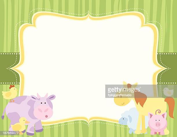 Cute Farm Animals Striped Card