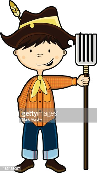 Cute Farm Boy Character stock illustration - Getty Images