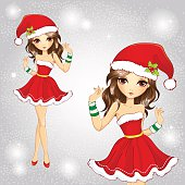 Cute Fashion Girl Dressed In Red Santa Claus Dress
