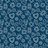 Cute fashion seamless pattern with gems and diamonds.
