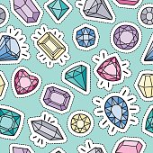 Cute fashion seamless pattern with patch badges: gems and diamonds in different colors.