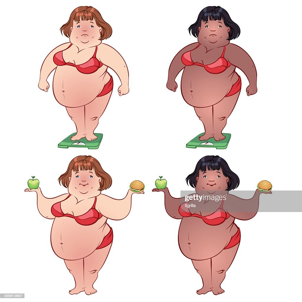 Cute fat woman on the scales and with food : Vector Art