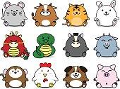 Cute Fatty cartoon of chinese zoidac horoscope animal sign collection set