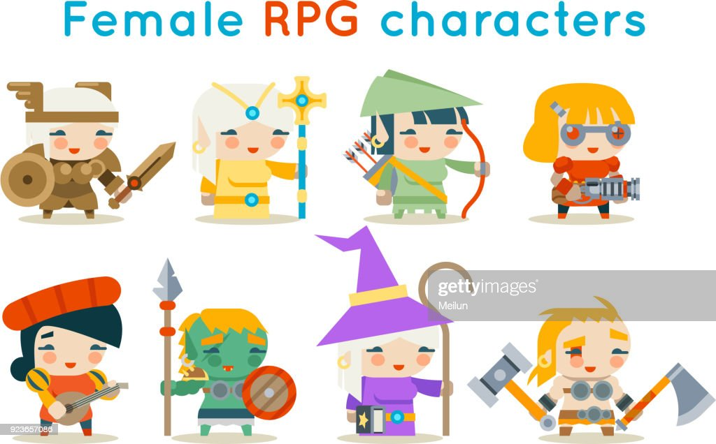 Cute female RPG characters fantasy game isolated icons set flat design vector illustration