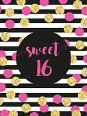 Cute festive bright sweet sixteen card with golden glitter confetti
