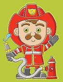Cute fireman standing near fire hydrant