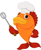 Cute fish chef cartoon holding spatula