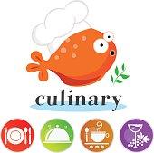 Cute fish chef vector