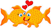 Cute fish couple in love with heart
