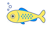 Cute fish icon. Isolated on white background. Vector illustration.