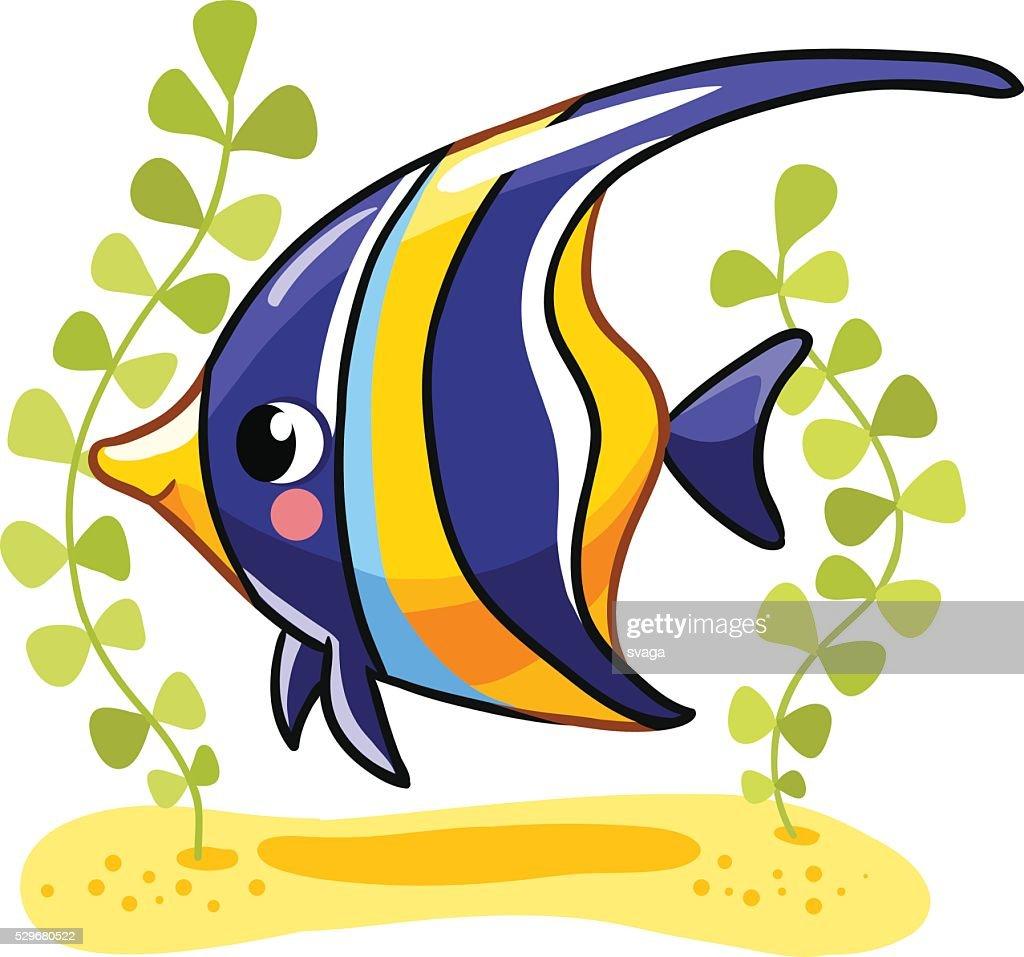 Cute fish zanclus in vector illustration.
