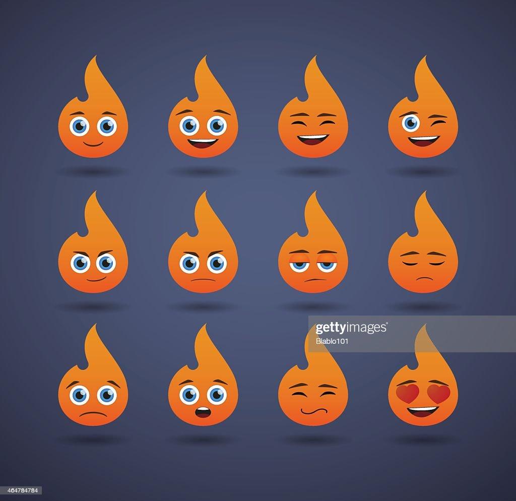 cute flame  avatar expression set