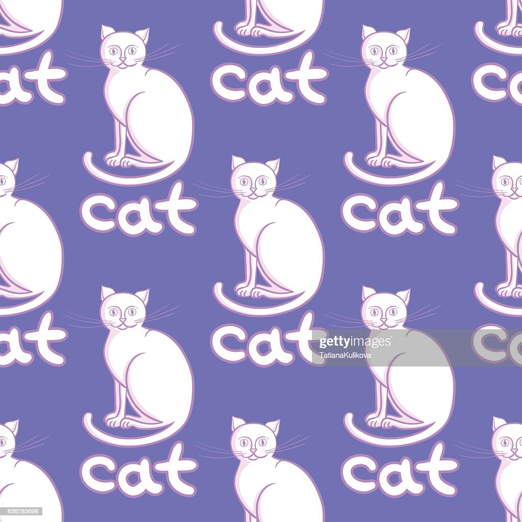 Cute flat cats vector seamless pattern with animals and inscription.