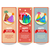 cute flat style birthday horizontal banner collection