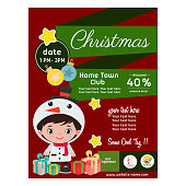 cute flat style christmas poster with children costume