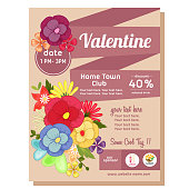 cute flat style valentine poster with floral theme