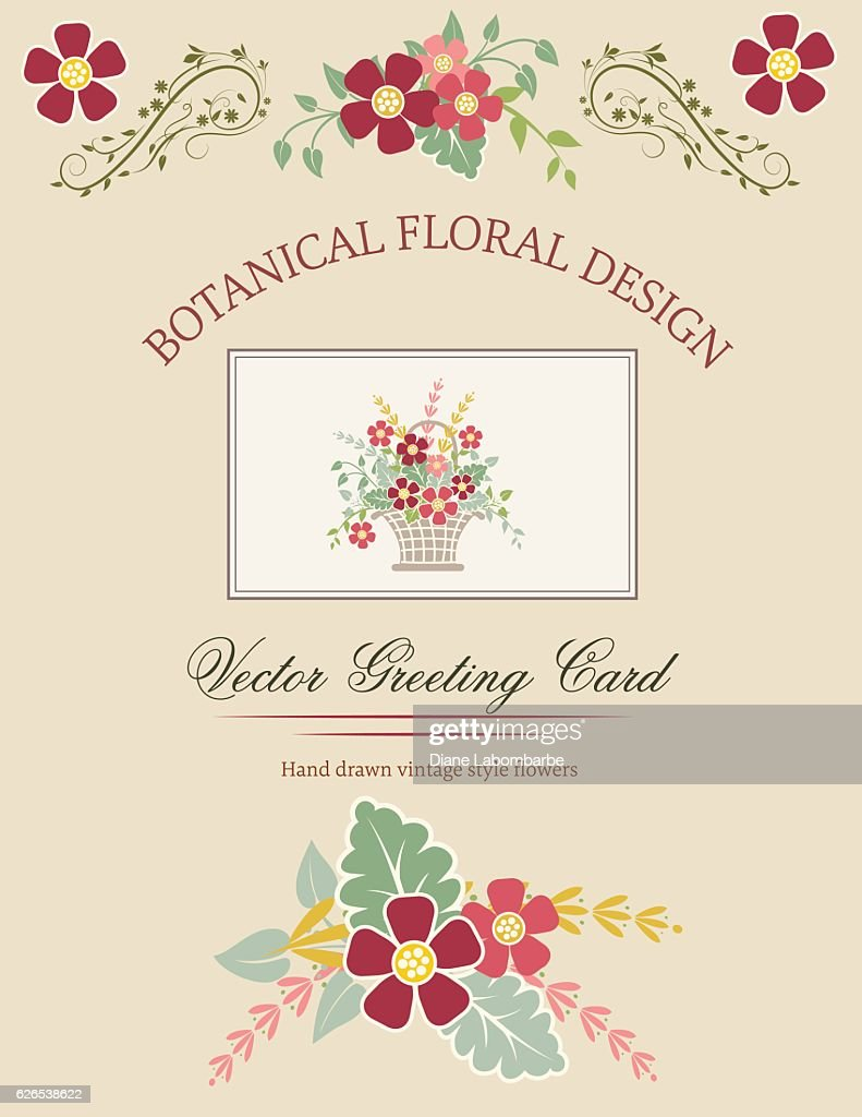 cute floral basket invitation template with red and pink flowers