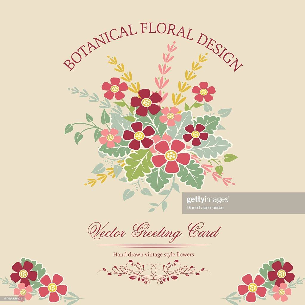 Cute Floral Bouquet Invitation Template With Red And Pink Flowers
