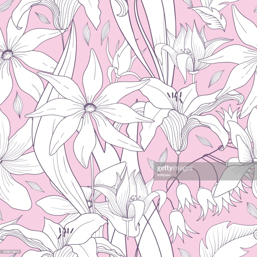 Cute Floral Seamless Pattern With Flowers Texture For Wallpapers