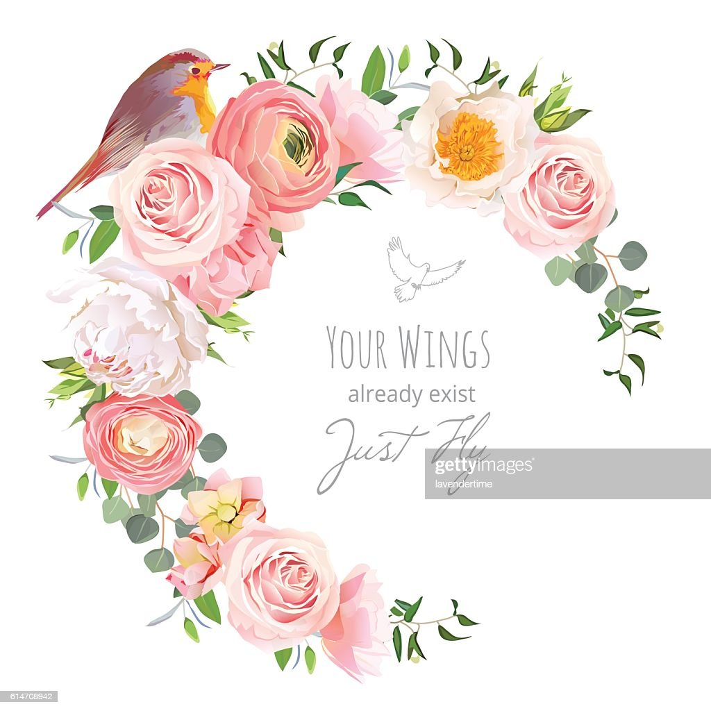 Cute floral vector frame with ranunculus, peony, rose, robin bird