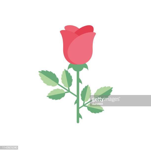 illustrazioni stock, clip art, cartoni animati e icone di tendenza di cute flower icon in flat design - rose - rose