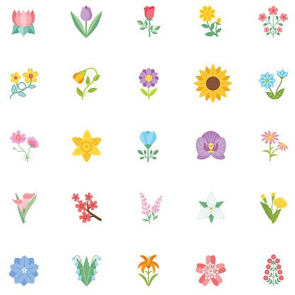 Cute Flower Icon In Flat Design - Sunflower - gettyimageskorea