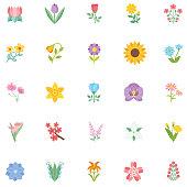 Cute Flower Icon In Flat Design - Sunflower