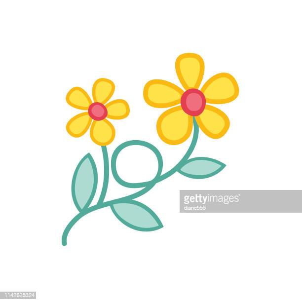 cute flower icon in flat design - yellow buttercup - ranunculus stock illustrations, clip art, cartoons, & icons