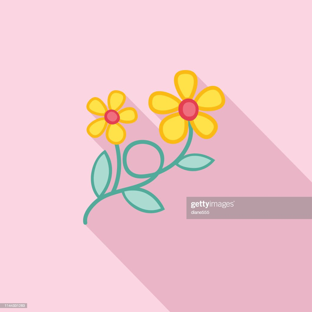 07979b9c2e560 Cute Flower Icon In Flat Design - Yellow Buttercup : stock vector