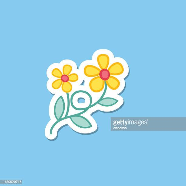 cute flower icon in flat design - yellow buttercup - buttercup stock illustrations, clip art, cartoons, & icons