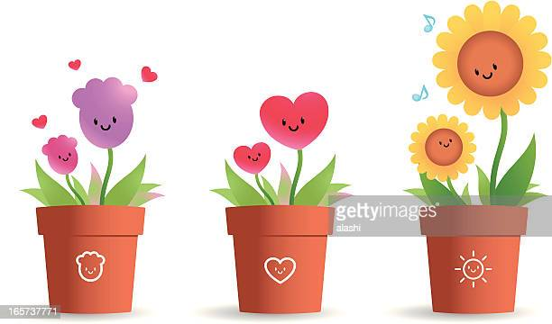 cute flower pot for mother's day - sunflower stock illustrations, clip art, cartoons, & icons