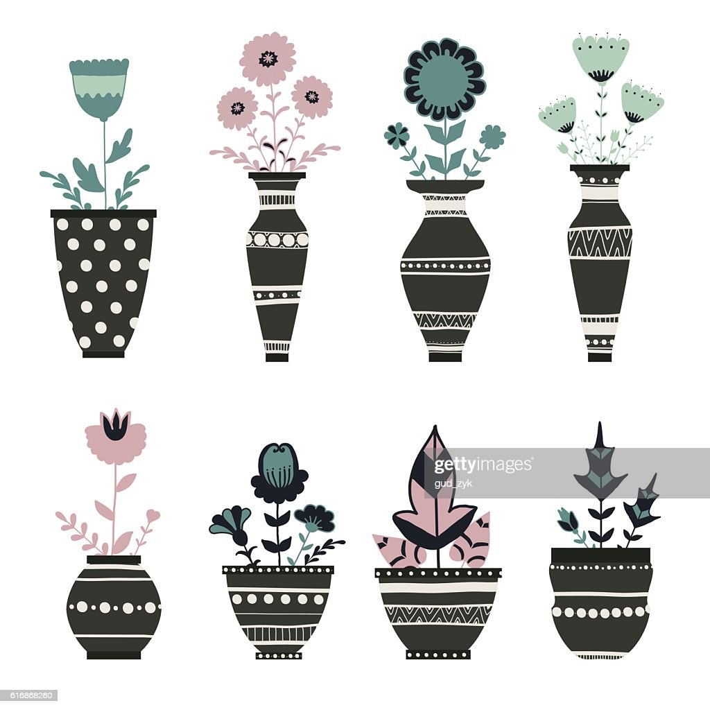 Cute flowerpots. : Vector Art