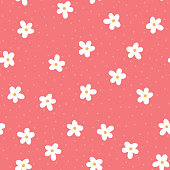 Cute flowers and round dots. Girly floral seamless pattern.